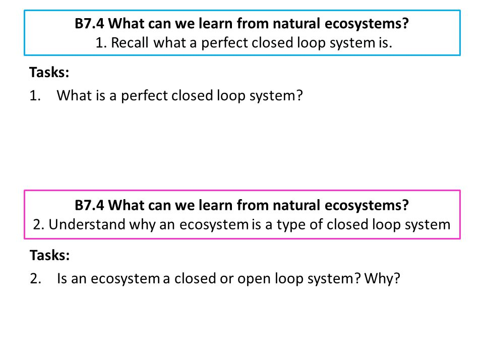B7.4 What can we learn from natural ecosystems? 1. Recall what a perfect closed loop system is. Tasks: 1.What is a perfect closed loop system? B7.4 Wh