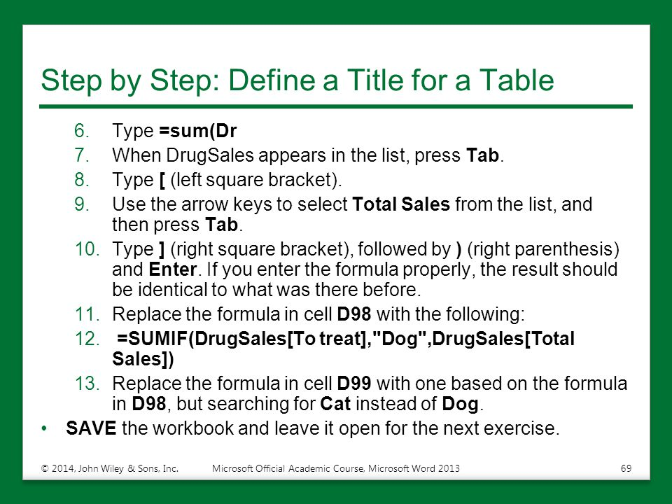 Step by Step: Define a Title for a Table 6.Type =sum(Dr 7.When DrugSales appears in the list, press Tab. 8.Type [ (left square bracket). 9.Use the arr