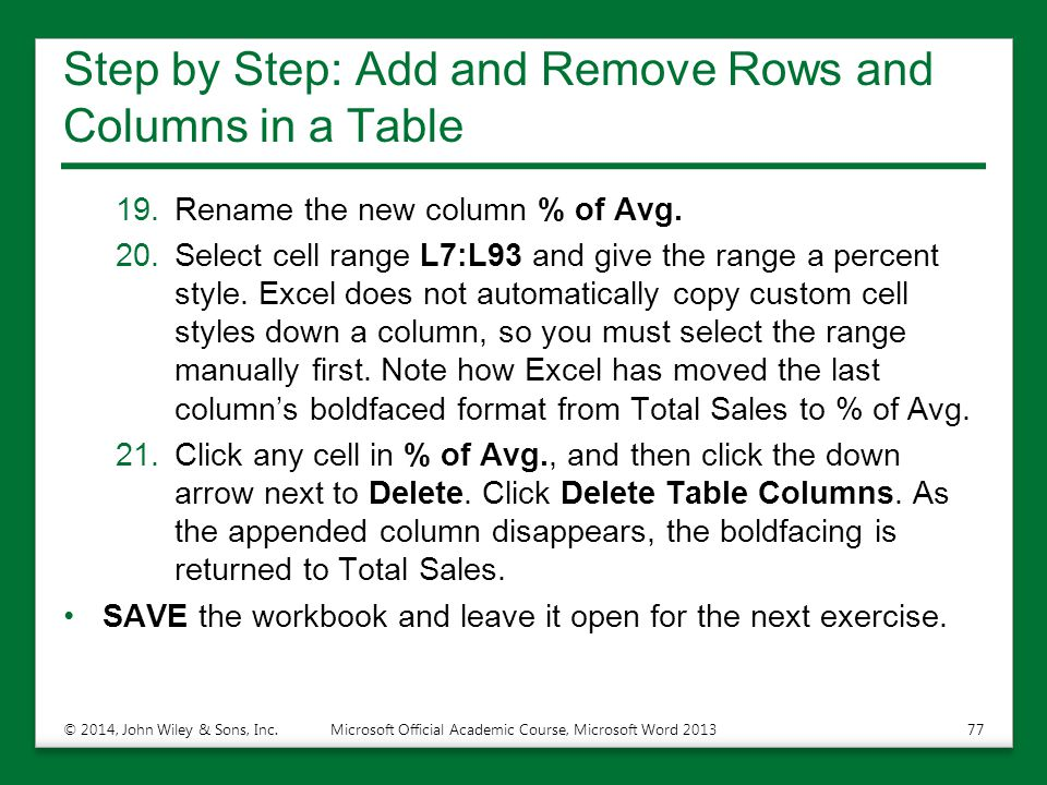 Step by Step: Add and Remove Rows and Columns in a Table 19.Rename the new column % of Avg. 20.Select cell range L7:L93 and give the range a percent s