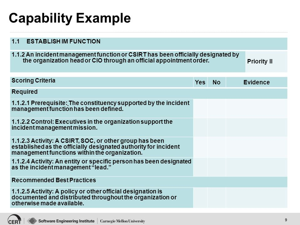 9 Capability Example 1.1ESTABLISH IM FUNCTION 1.1.2 An incident management function or CSIRT has been officially designated by the organization head or CIO through an official appointment order.
