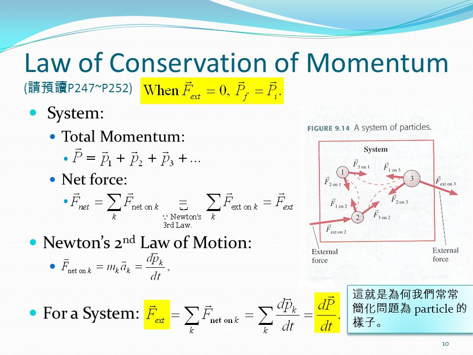 Law of Conservation of Momentum ( 請預讀 P247~P252) System: Total Momentum: Net force: Newton's 2 nd Law of Motion: For a System: 10 這就是為何我們常常 簡化問題為 particle 的 樣子。