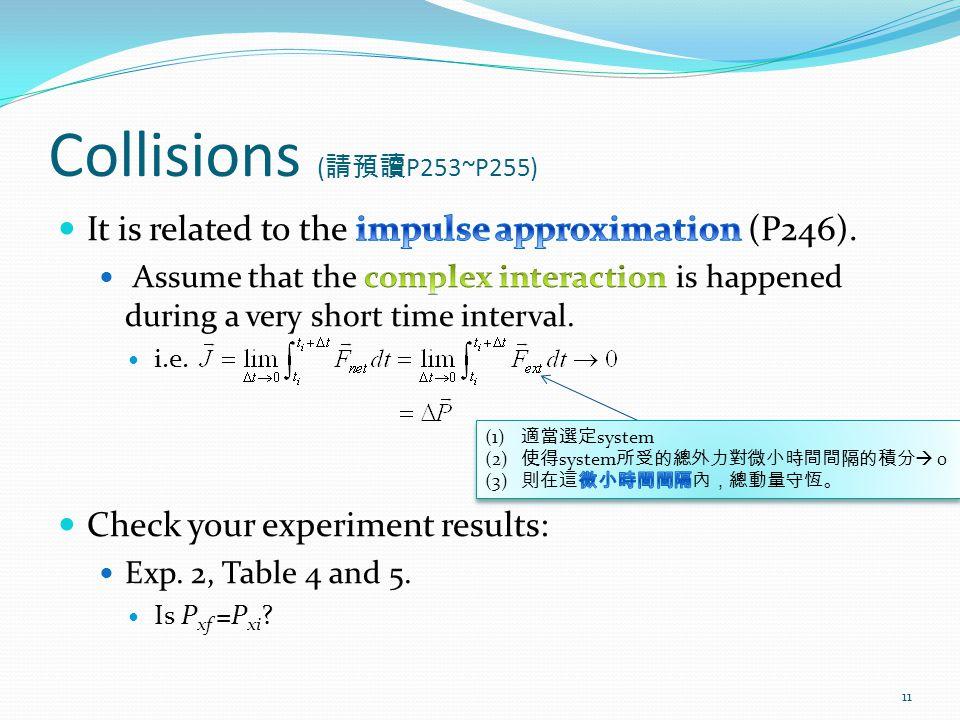 Collisions ( 請預讀 P253~P255) 11
