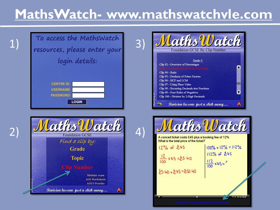 MathsWatch- www.mathswatchvle.com 1)3) 2)4)