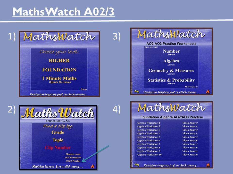 MathsWatch A02/3 1)3) 2)4)
