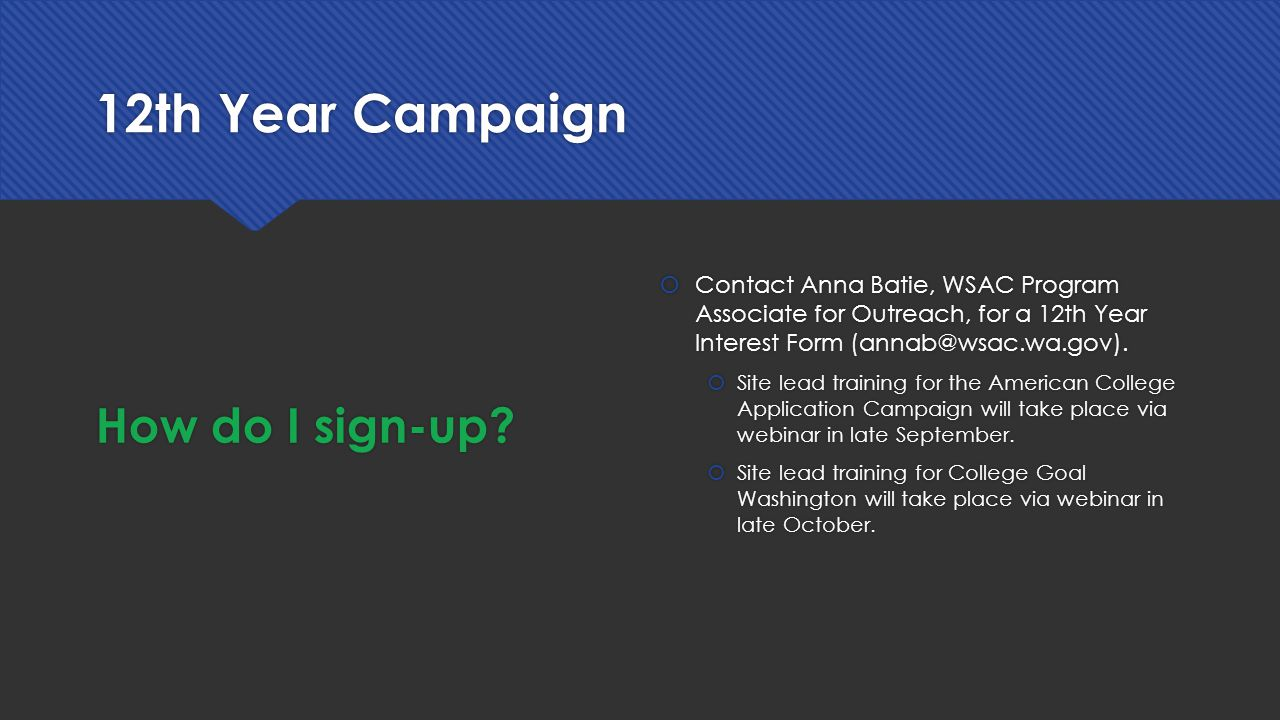 12th Year Campaign How do I sign-up.