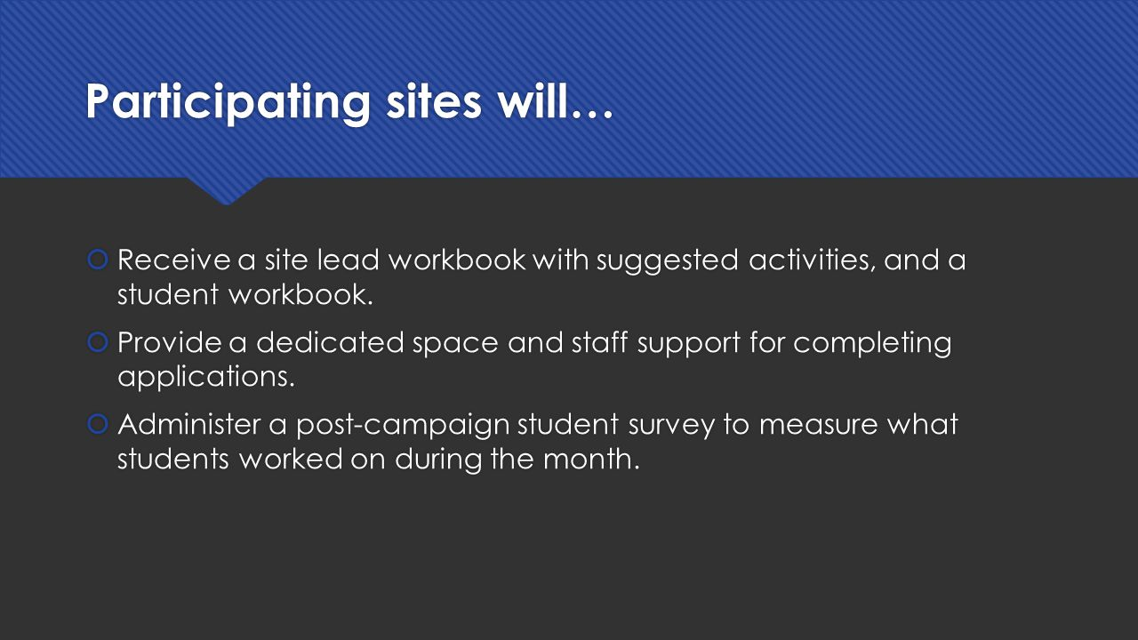 Participating sites will…  Receive a site lead workbook with suggested activities, and a student workbook.