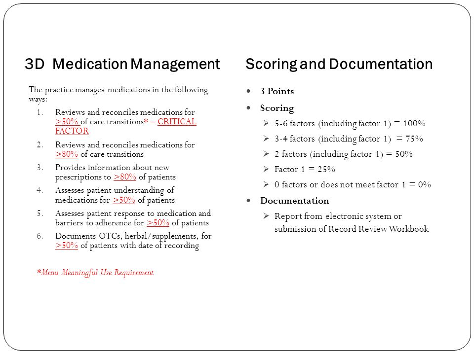 3D Medication ManagementScoring and Documentation The practice manages medications in the following ways: 1.Reviews and reconciles medications for >50