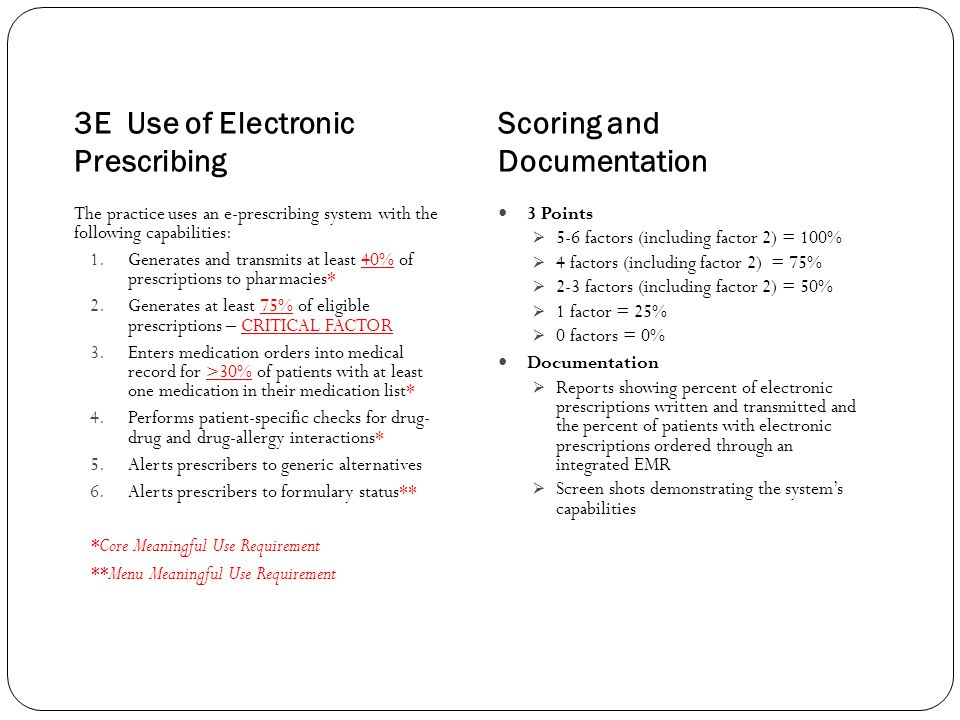 3E Use of Electronic Prescribing Scoring and Documentation The practice uses an e-prescribing system with the following capabilities: 1.Generates and transmits at least 40% of prescriptions to pharmacies* 2.Generates at least 75% of eligible prescriptions – CRITICAL FACTOR 3.Enters medication orders into medical record for >30% of patients with at least one medication in their medication list* 4.Performs patient-specific checks for drug- drug and drug-allergy interactions* 5.Alerts prescribers to generic alternatives 6.Alerts prescribers to formulary status** *Core Meaningful Use Requirement **Menu Meaningful Use Requirement 3 Points  5-6 factors (including factor 2) = 100%  4 factors (including factor 2) = 75%  2-3 factors (including factor 2) = 50%  1 factor = 25%  0 factors = 0% Documentation  Reports showing percent of electronic prescriptions written and transmitted and the percent of patients with electronic prescriptions ordered through an integrated EMR  Screen shots demonstrating the system's capabilities