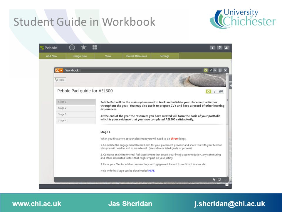 www.chi.ac.ukJas Sheridanj.sheridan@chi.ac.uk Student completes document Student Guide in Workbook