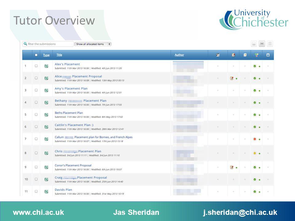 www.chi.ac.ukJas Sheridanj.sheridan@chi.ac.uk Tutor Overview
