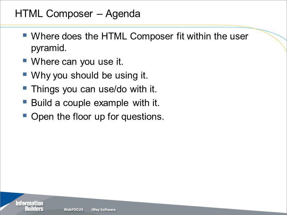 HTML Composer – Agenda Copyright 2009, Information Builders.