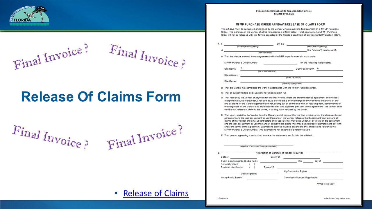 Release Of Claims Form Final Invoice Release of Claims