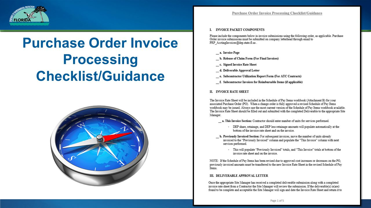 Purchase Order Invoice Processing Checklist/Guidance