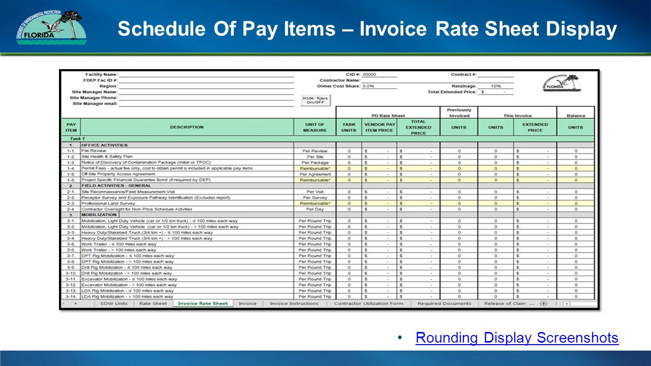 Schedule Of Pay Items – Invoice Rate Sheet Display Rounding Display Screenshots
