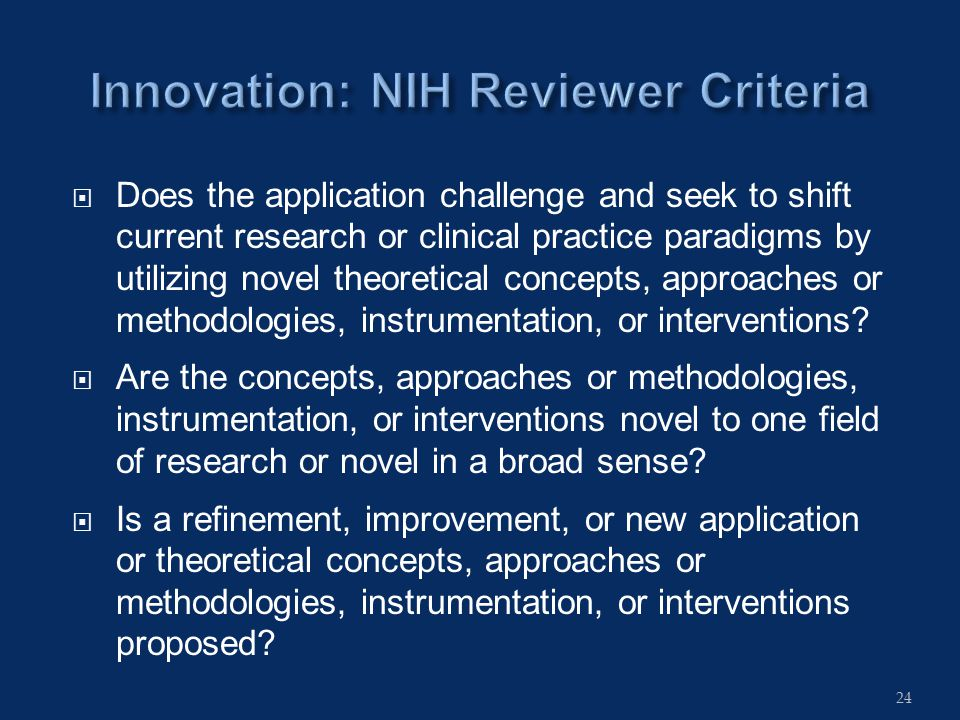 Does the application challenge and seek to shift current research or clinical practice paradigms by utilizing novel theoretical concepts, approaches or methodologies, instrumentation, or interventions.