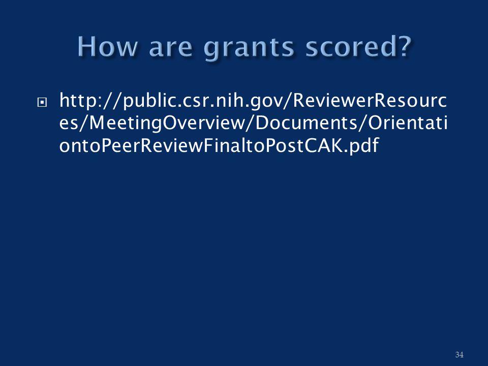  http://public.csr.nih.gov/ReviewerResourc es/MeetingOverview/Documents/Orientati ontoPeerReviewFinaltoPostCAK.pdf 34