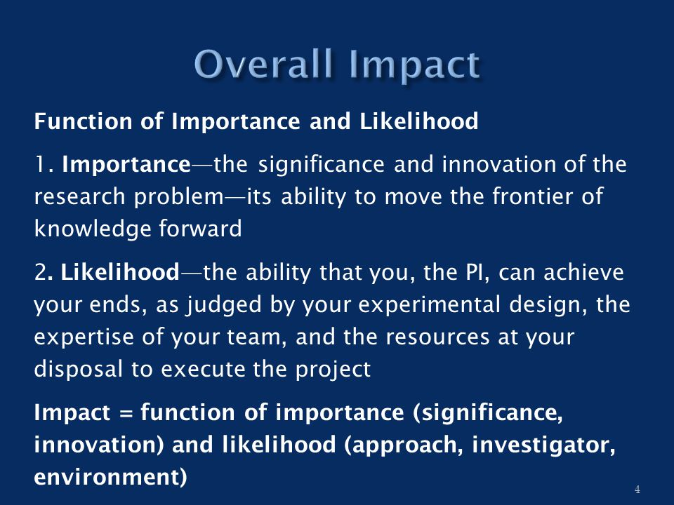 Function of Importance and Likelihood 1.