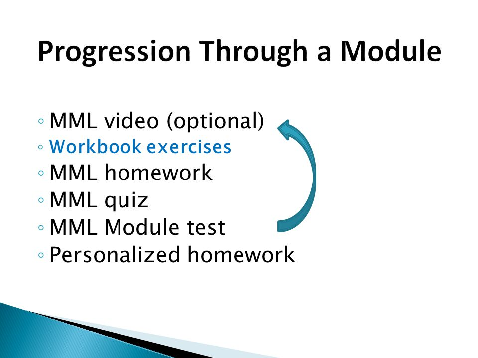 ◦ MML video (optional) ◦ Workbook exercises ◦ MML homework ◦ MML quiz ◦ MML Module test ◦ Personalized homework