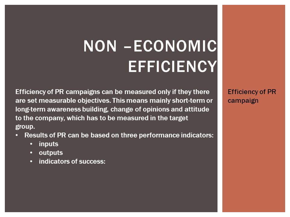 NON –ECONOMIC EFFICIENCY Variable inputs: measured PR activities, such as number of interviews, number of business meetings, etc.