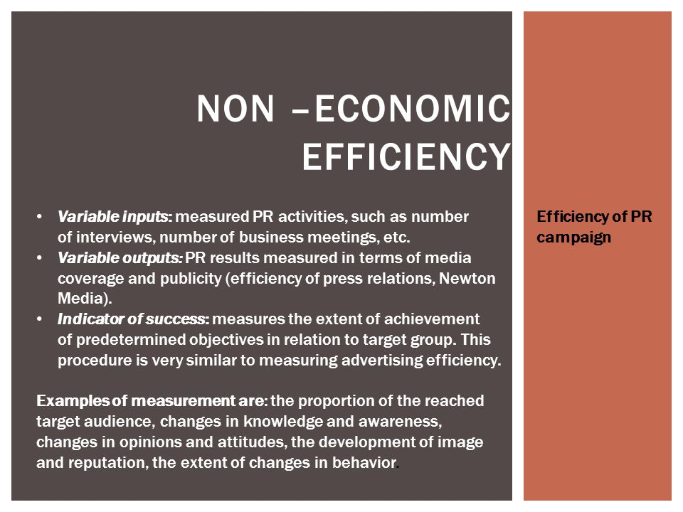 ECONOMIC EFFICIENCY As methods of measuring the advertising efficiency on sales may be used the method of direct interview or the test method of the regional sales.