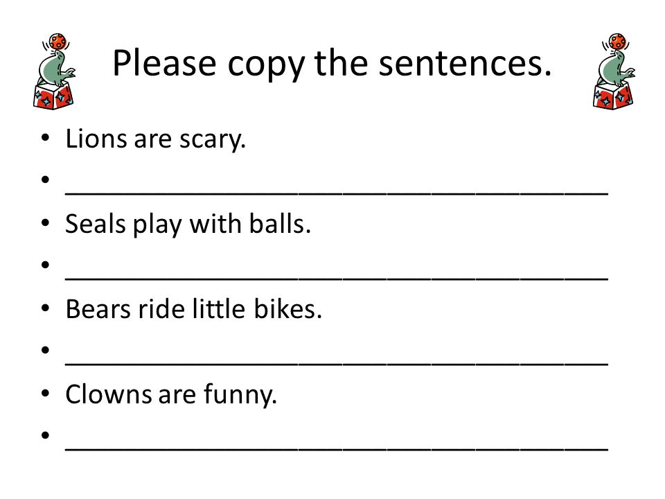 Please copy the sentences. Lions are scary. _____________________________________ Seals play with balls. _____________________________________ Bears r