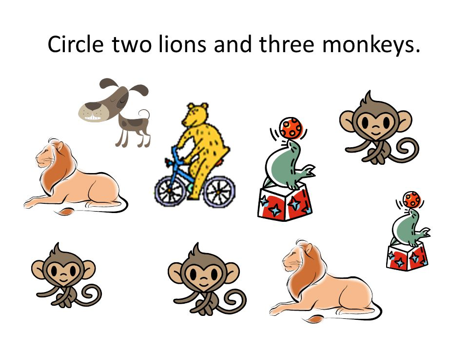 Circle two lions and three monkeys.