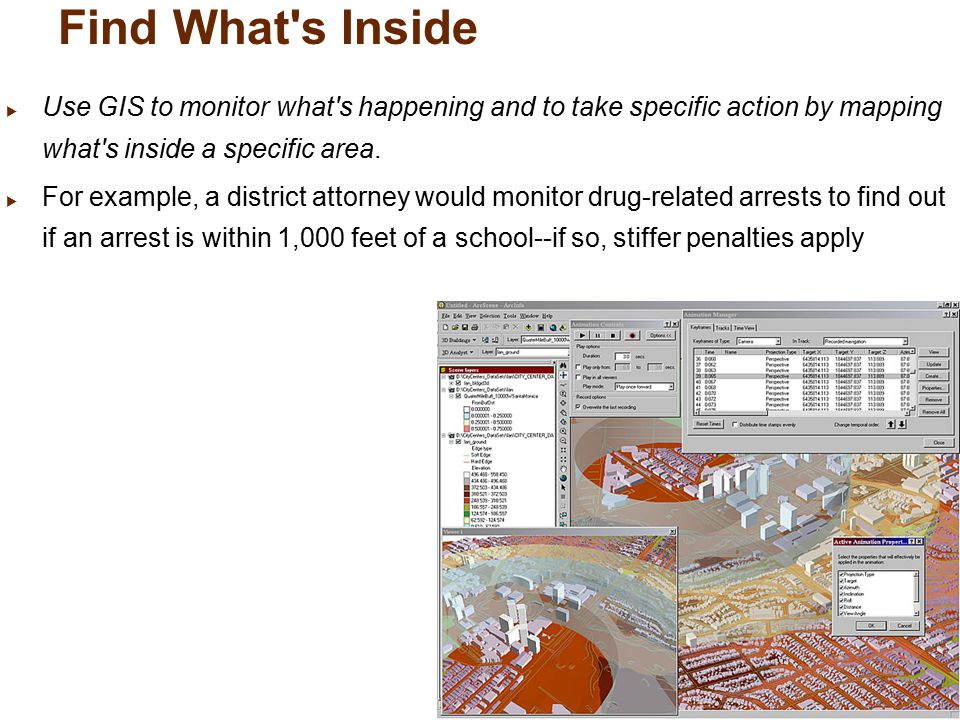 Find What s Inside  Use GIS to monitor what s happening and to take specific action by mapping what s inside a specific area.