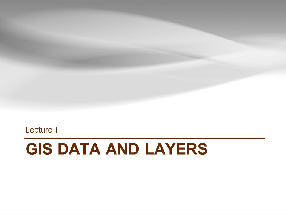 GIS DATA AND LAYERS Lecture 1