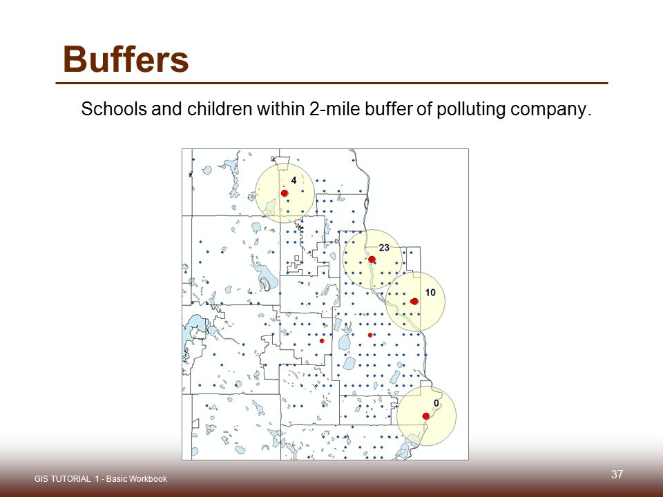 Buffers Schools and children within 2-mile buffer of polluting company.