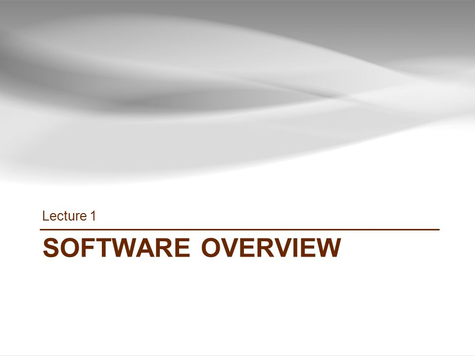 SOFTWARE OVERVIEW Lecture 1