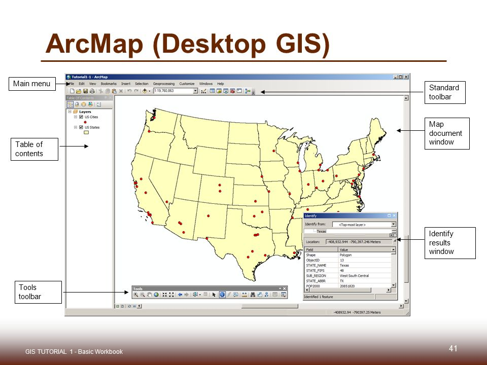 ArcMap (Desktop GIS) Table of contents Tools toolbar Identify results window Map document window Standard toolbar Main menu 41 GIS TUTORIAL 1 - Basic Workbook