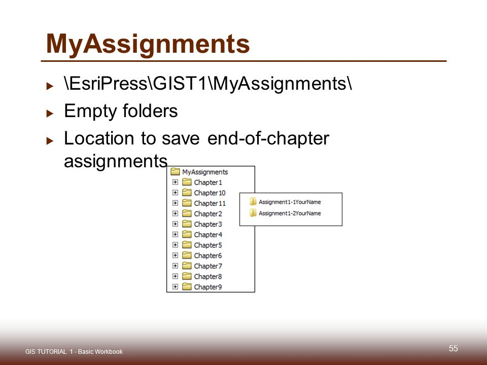MyAssignments  \EsriPress\GIST1\MyAssignments\  Empty folders  Location to save end-of-chapter assignments 55 GIS TUTORIAL 1 - Basic Workbook