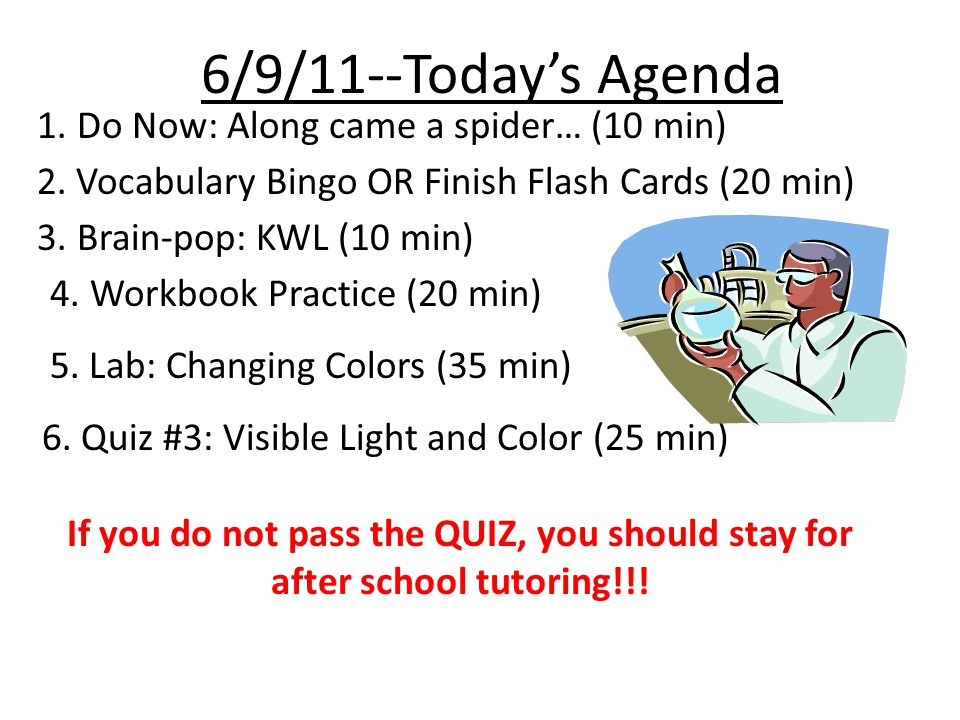 6/9/11--Today's Agenda 1. Do Now: Along came a spider… (10 min) 2. Vocabulary Bingo OR Finish Flash Cards (20 min) 3. Brain-pop: KWL (10 min) 4. Workb