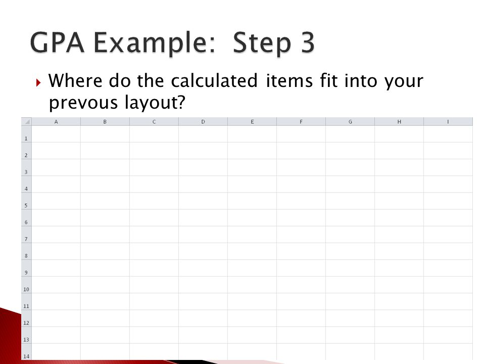  Where do the calculated items fit into your prevous layout?