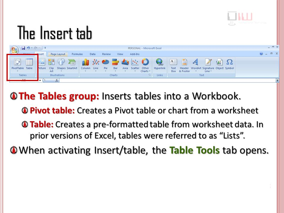 The Insert tab The Tables group: Inserts tables into a Workbook.