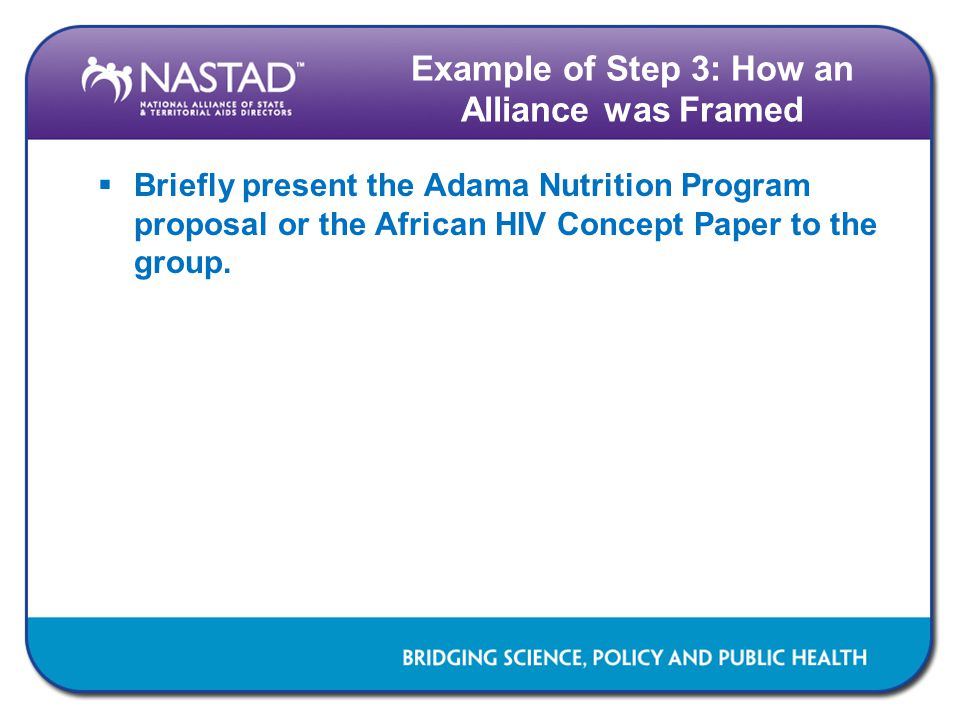Example of Step 3: How an Alliance was Framed  Briefly present the Adama Nutrition Program proposal or the African HIV Concept Paper to the group.