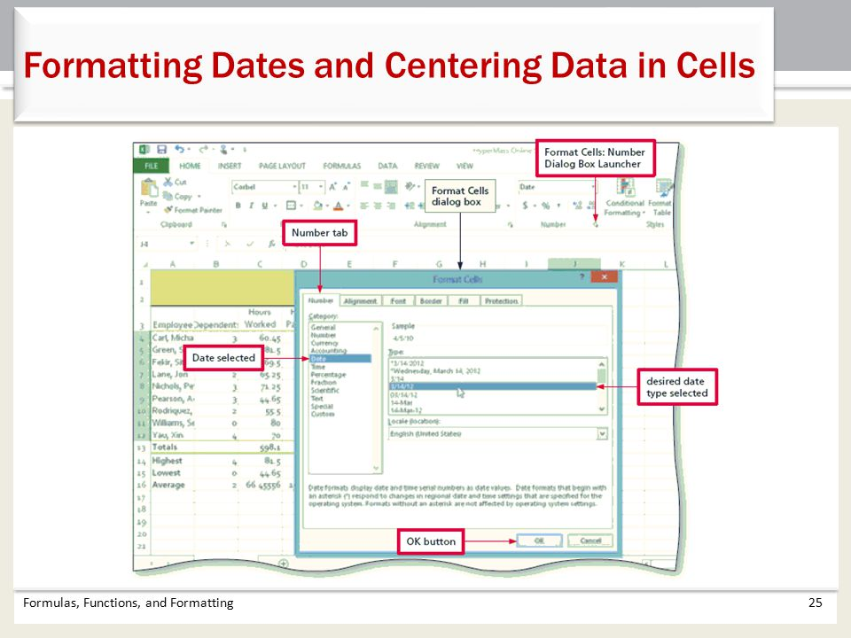 Formulas, Functions, and Formatting25 Formatting Dates and Centering Data in Cells
