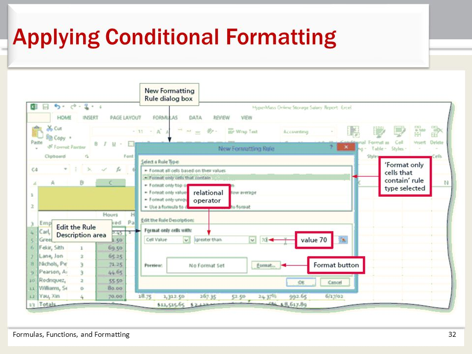 Formulas, Functions, and Formatting32 Applying Conditional Formatting