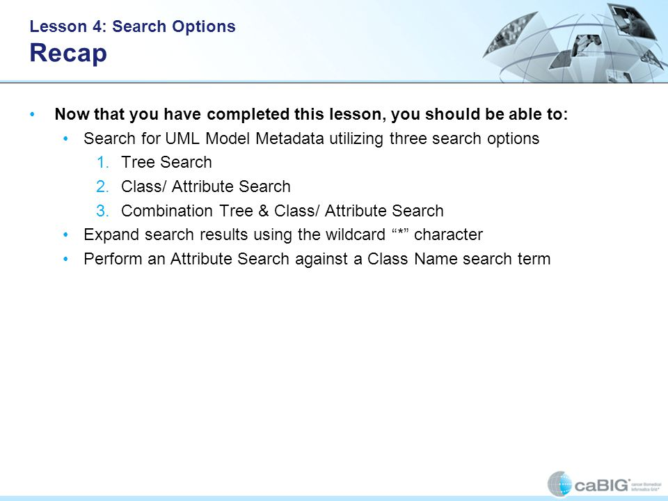 Lesson 4: Search Options Recap Now that you have completed this lesson, you should be able to: Search for UML Model Metadata utilizing three search options 1.Tree Search 2.Class/ Attribute Search 3.Combination Tree & Class/ Attribute Search Expand search results using the wildcard * character Perform an Attribute Search against a Class Name search term