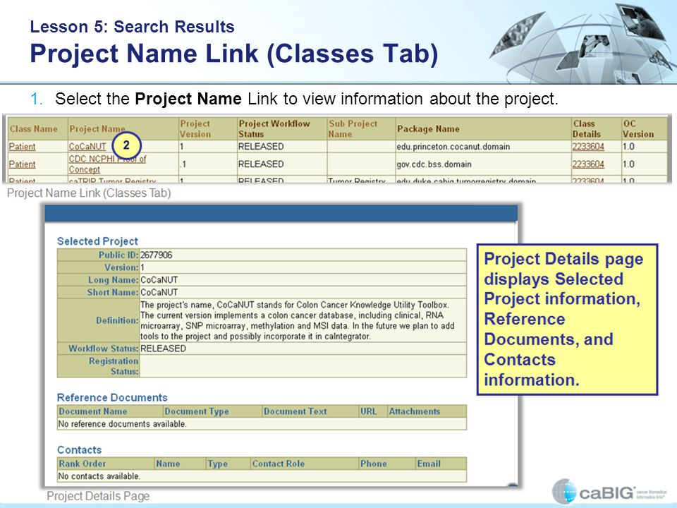 Lesson 5: Search Results Project Name Link (Classes Tab) 1.Select the Project Name Link to view information about the project.