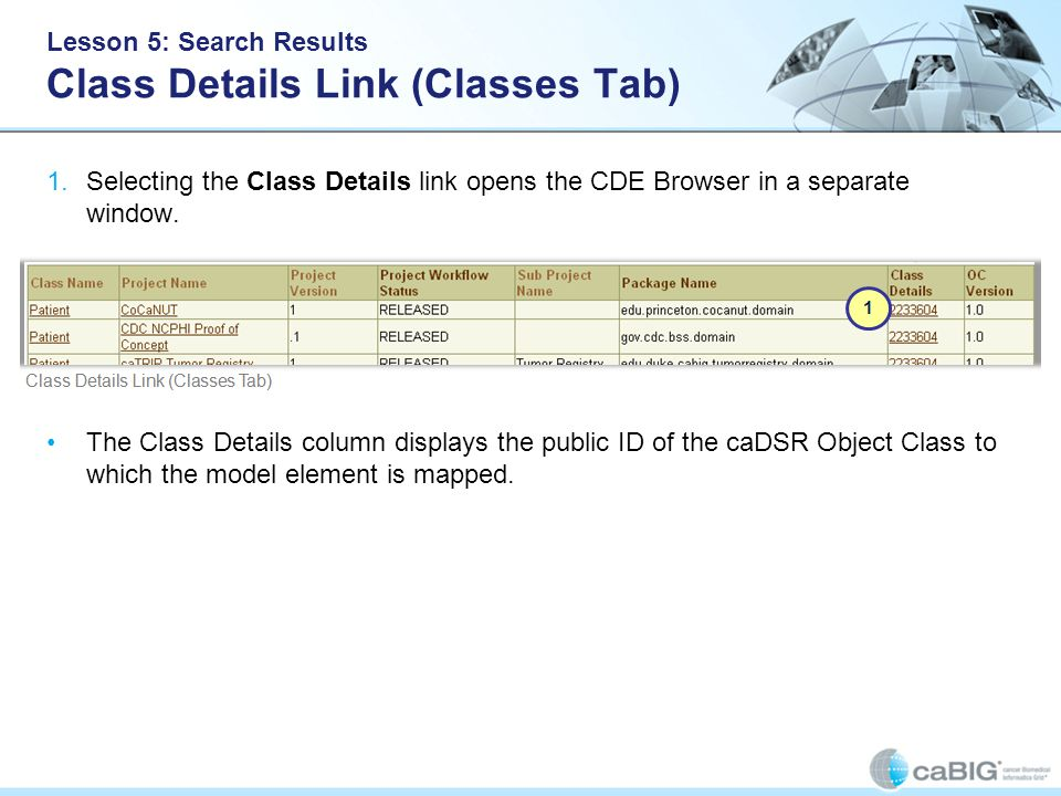 Lesson 5: Search Results Class Details Link (Classes Tab) 1.Selecting the Class Details link opens the CDE Browser in a separate window.