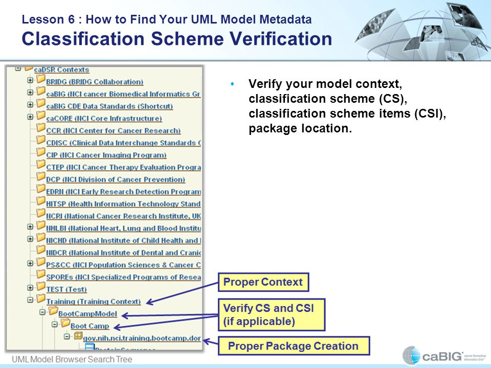 Lesson 6 : How to Find Your UML Model Metadata Classification Scheme Verification Verify your model context, classification scheme (CS), classification scheme items (CSI), package location.