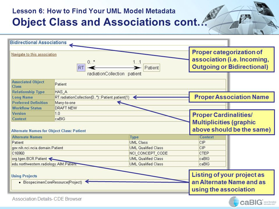 Lesson 6: How to Find Your UML Model Metadata Object Class and Associations cont…