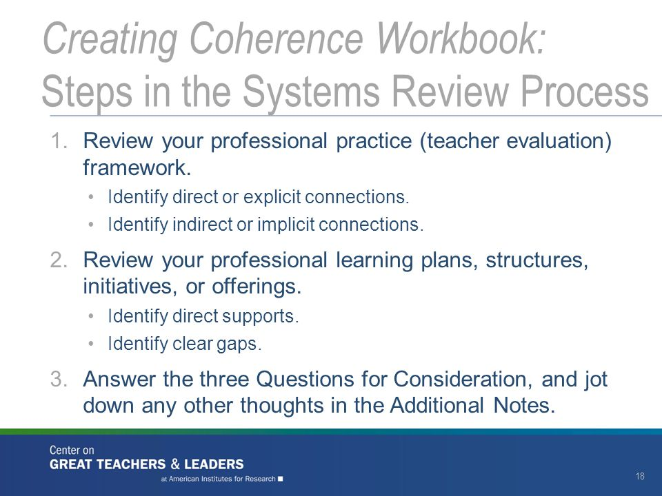 1.Review your professional practice (teacher evaluation) framework.