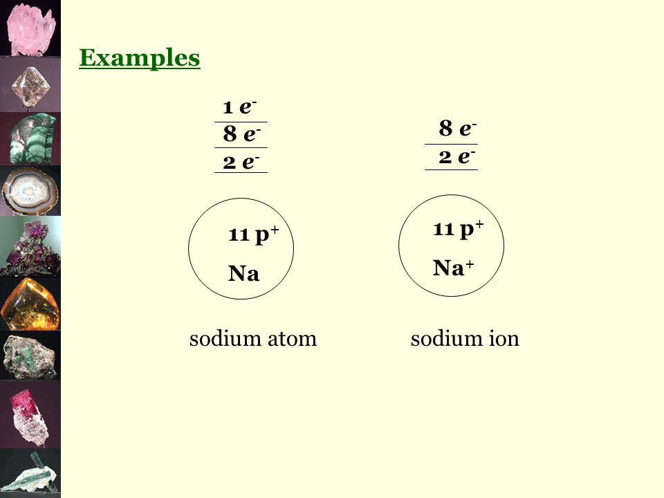 Examples 11 p + Na 2 e - 8 e - 1 e - 2 e - 8 e - 11 p + Na + sodium atomsodium ion