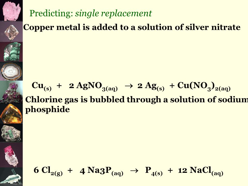 Predicting: single replacement Copper metal is added to a solution of silver nitrate Cu (s) + 2 AgNO 3(aq)  2 Ag (s) + Cu(NO 3 ) 2(aq) Chlorine gas is bubbled through a solution of sodium phosphide 6 Cl 2(g) + 4 Na3P (aq)  P 4(s) + 12 NaCl (aq)