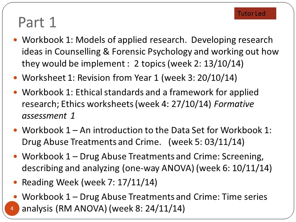 Part 1 4 Workbook 1: Models of applied research.