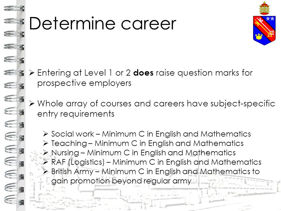 Determine career  Entering at Level 1 or 2 does raise question marks for prospective employers  Whole array of courses and careers have subject-specific entry requirements  Social work – Minimum C in English and Mathematics  Teaching – Minimum C in English and Mathematics  Nursing – Minimum C in English and Mathematics  RAF (Logistics) – Minimum C in English and Mathematics  British Army – Minimum C in English and Mathematics to gain promotion beyond regular army