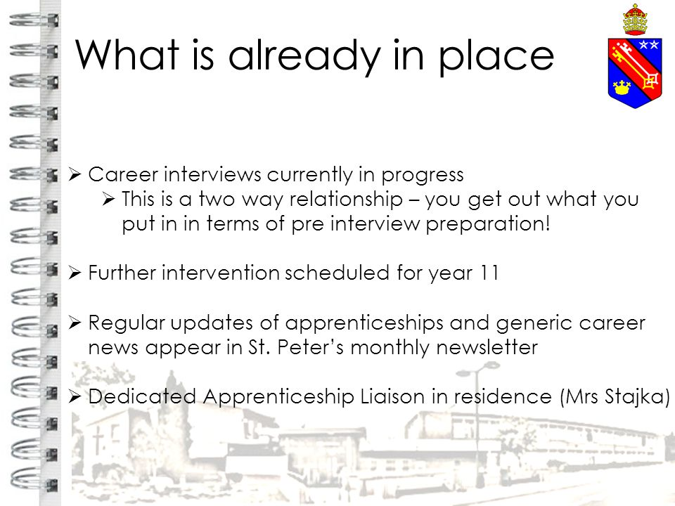 What is already in place  Career interviews currently in progress  This is a two way relationship – you get out what you put in in terms of pre interview preparation.