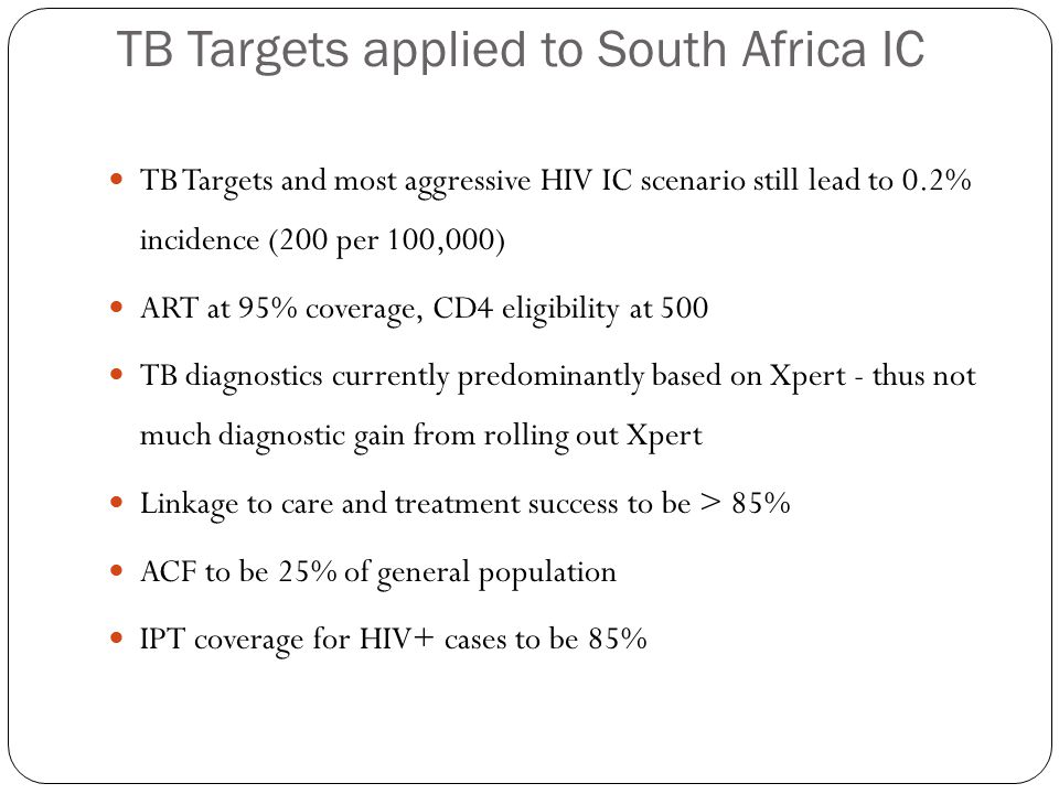 TB Targets applied to South Africa IC TB Targets and most aggressive HIV IC scenario still lead to 0.2% incidence (200 per 100,000) ART at 95% coverage, CD4 eligibility at 500 TB diagnostics currently predominantly based on Xpert - thus not much diagnostic gain from rolling out Xpert Linkage to care and treatment success to be > 85% ACF to be 25% of general population IPT coverage for HIV+ cases to be 85%